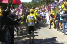 Bizarre scenes as Chris Froome runs up Mont Ventoux after damaging bike in crash