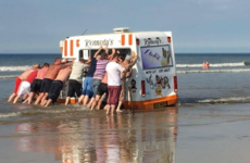 A group of Derry lads heroically tried to save this sinking ice cream van