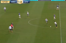 Juventus youngster Carlos Blanco launches one in from the halfway line