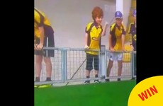 A little kid was spotted flipping the bird at today's hurling match in Thurles