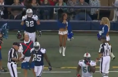 WATCH: A cheerleader get flattened by the Cowboys' Jason Witten