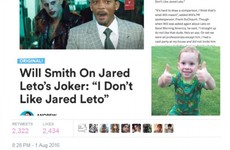 An article saying Will Smith dissed Jared Leto is going viral, but it's totally fake