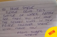 This guy got into a drunken argument with himself after leaving a helpful note