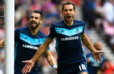 Stuani strikes twice for Boro as O'Shea joins Moyes' injury list