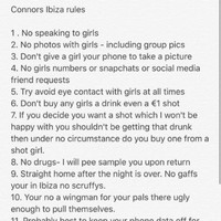 This girl drew up an insane list of 20 rules for her boyfriend ahead of his lads' holiday