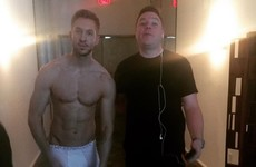 Calvin Harris stripped down to his jocks to wish his manager a happy birthday... it's the Dredge