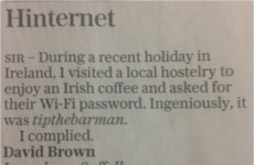 The Telegraph published a letter about an Irish pub's very clever Wi-Fi password