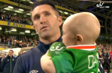 Robbie Keane's baby son tried to steal the spotlight during his dad's final speech last night