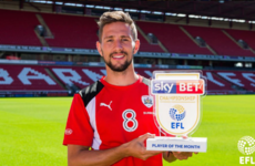 Irish midfielder Hourihane's superb form recognised with Championship Player of the Month award