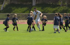 Video: Robbie Keane and Steven Gerrard take on 30 children in a game of football