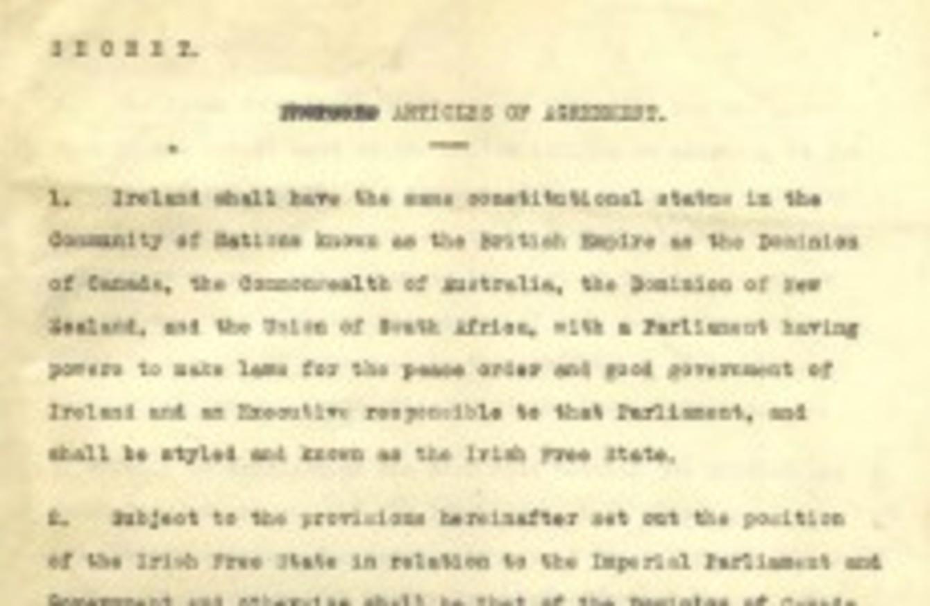 Secret Anglo Irish Treaty Of 6 December 1921 Now Online
