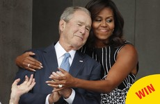 This picture of Michelle Obama hugging George W Bush has become a glorious meme
