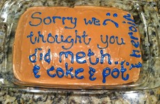This girl got her Mam to make her the best apology cake for thinking she was on drugs