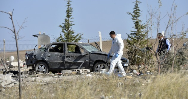 Suicide bombers blow themselves up after being approached by Turkish police
