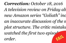 The New York Times issued the best correction after a reviewer's morto mix up