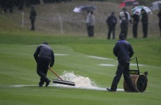 Rain halts play at The Ryder Cup until 5pm