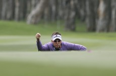 Purple reign: Ian Poulter surges into the lead in Australia