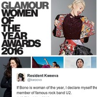 Bono was included on Glamour's 'Women of the Year' list and everyone's taking the piss
