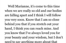Leonard Cohen's recent letter to his ex-girlfriend before she died is heartbreaking
