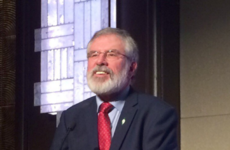 Gerry Adams is in the US and has passed on congratulations to Donald Trump