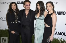 Bono brought his wife and daughters to accept his 'Woman of the Year' award... It's The Dredge