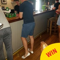 An Irishman in Perth improvised when he wasn't allowed into a pub because of his flip flops