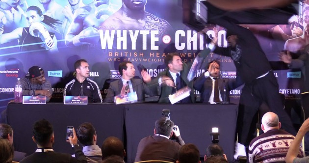 Dereck Chisora goes full WWE and throws table at Dillian Whyte during press conference