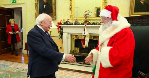 Santa Claus paid a visit to President Higgins at the Áras