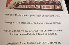 A bar in Co. Kerry is generously offering free Christmas dinner to those in need
