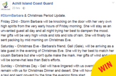 The Achill Island Coast Guard is getting very creative with its Storm Barbara updates