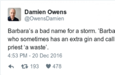 Everybody is making the same observation about Storm Barbara's name