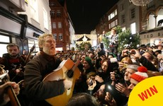 Gavin James joined Glen Hansard for the traditional Christmas Eve busk on Grafton Street