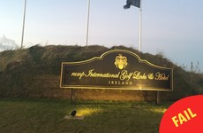 The 'T' has fallen off the Trump International sign in Clare to create an unfortunate new name