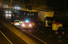 Pedestrian knocked down and killed by articulated lorry on M50