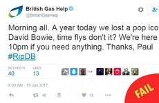 This corporate Twitter account's tribute to David Bowie backfired spectacularly