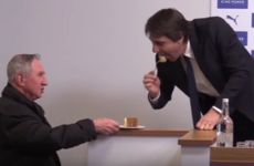Conte takes a bite of journalist's cake before starting Chelsea press conference