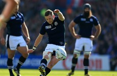 Scotland's Finn Russell conjured a bizarre conversion miss from in front of the posts earlier
