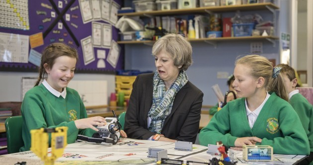 Theresa May didn't look too impressed with a student's Lego robot