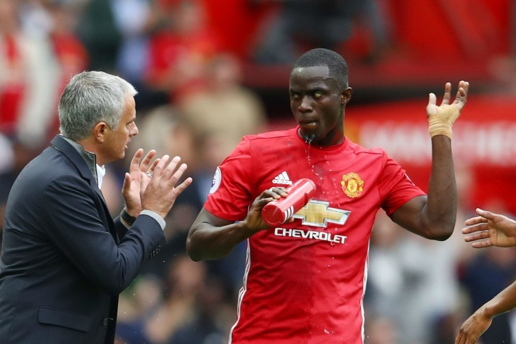 Jose Mourinho and Eric Bailly.