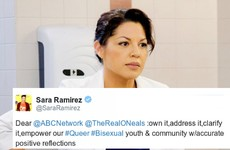An ex Grey's Anatomy actress has spoken out against a bisexual joke on a US sitcom