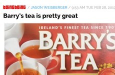 Legendary US blog Boing Boing has written a glowing review of Barry's Tea