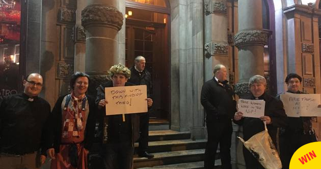 A Father Ted stag party held a peaceful protest after getting turned away from a bar in Kilkenny