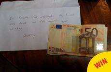 This lovely letter was dropped into a house in Kinsale after a group accidentally broke the window