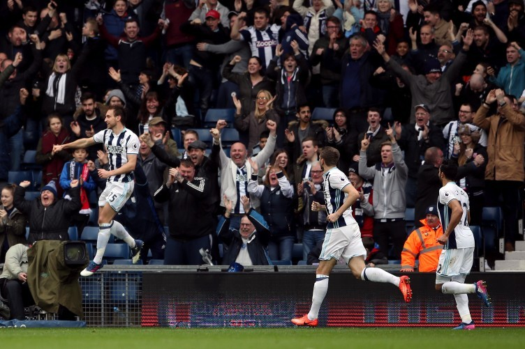 West Bromwich Albion's Craig Dawson celebrates scoring his side's third goal of the game.