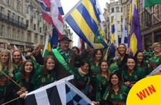 The photos of Dara O Briain leading out the Paddy's Day parade in London are class