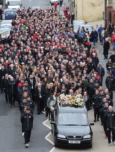 'He was brave and knew no fear' - Derry bids farewell to inspirational captain Ryan McBride