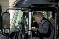 This photo of Donald Trump in a truck yesterday has turned into one of the great memes