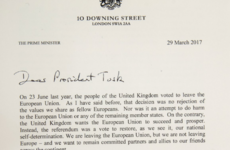 'Dear President Tusk': Here is the letter that confirmed Britain is leaving the EU