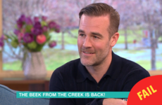 James Van Der Beek was not impressed with being asked about Dawson's Creek on This Morning