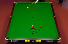 Magician! Murphy plays shot of the tournament off three cushions to pot impossible red